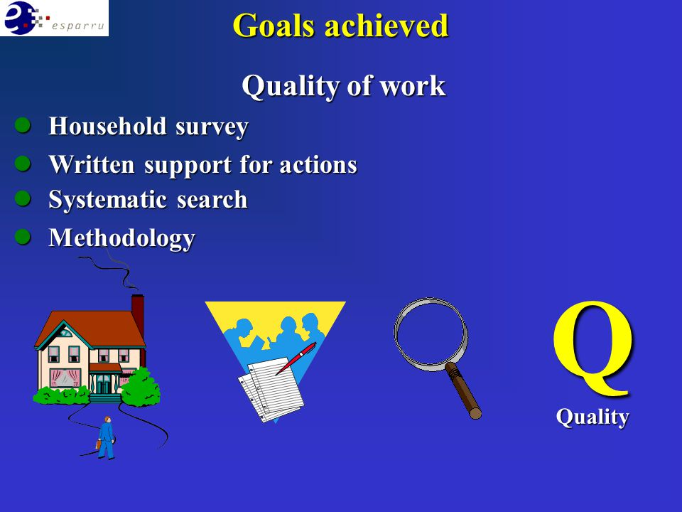 Quality of work lHousehold survey lWritten support for actions lSystematic search lMethodology QQuality Goals achieved
