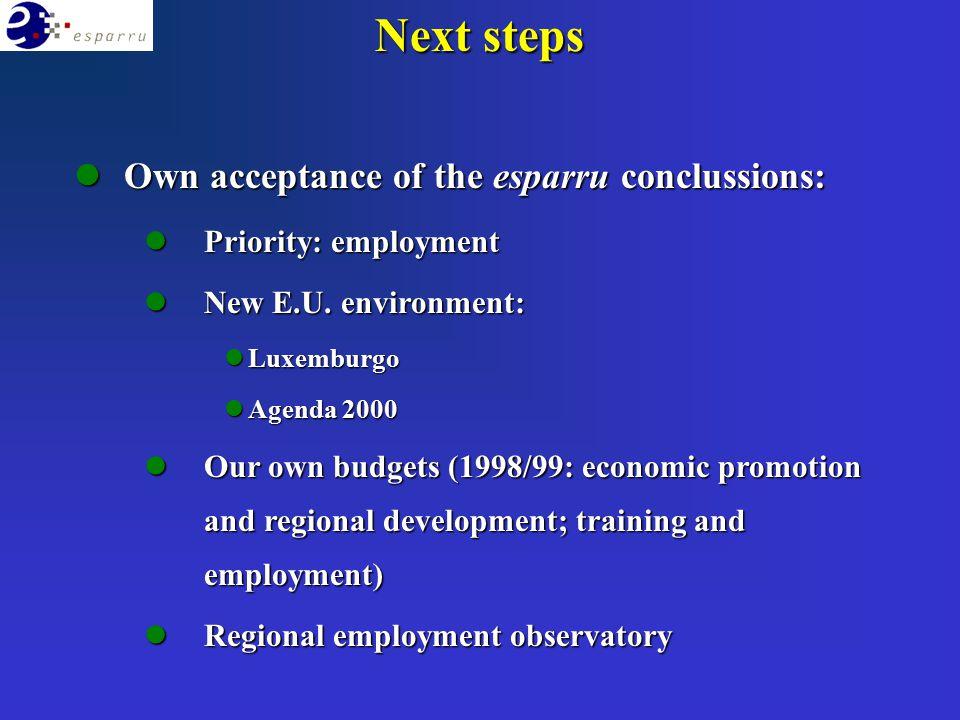 lOwn acceptance of the esparru conclussions: lPriority: employment lNew E.U. environment: lLuxemburgo lAgenda 2000 lOur own budgets (1998/99: economic