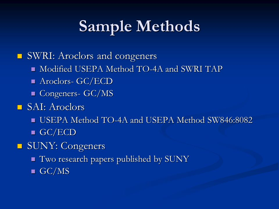 Sample Methods SWRI: Aroclors and congeners SWRI: Aroclors and congeners Modified USEPA Method TO-4A and SWRI TAP Modified USEPA Method TO-4A and SWRI TAP Aroclors- GC/ECD Aroclors- GC/ECD Congeners- GC/MS Congeners- GC/MS SAI: Aroclors SAI: Aroclors USEPA Method TO-4A and USEPA Method SW846:8082 USEPA Method TO-4A and USEPA Method SW846:8082 GC/ECD GC/ECD SUNY: Congeners SUNY: Congeners Two research papers published by SUNY Two research papers published by SUNY GC/MS GC/MS