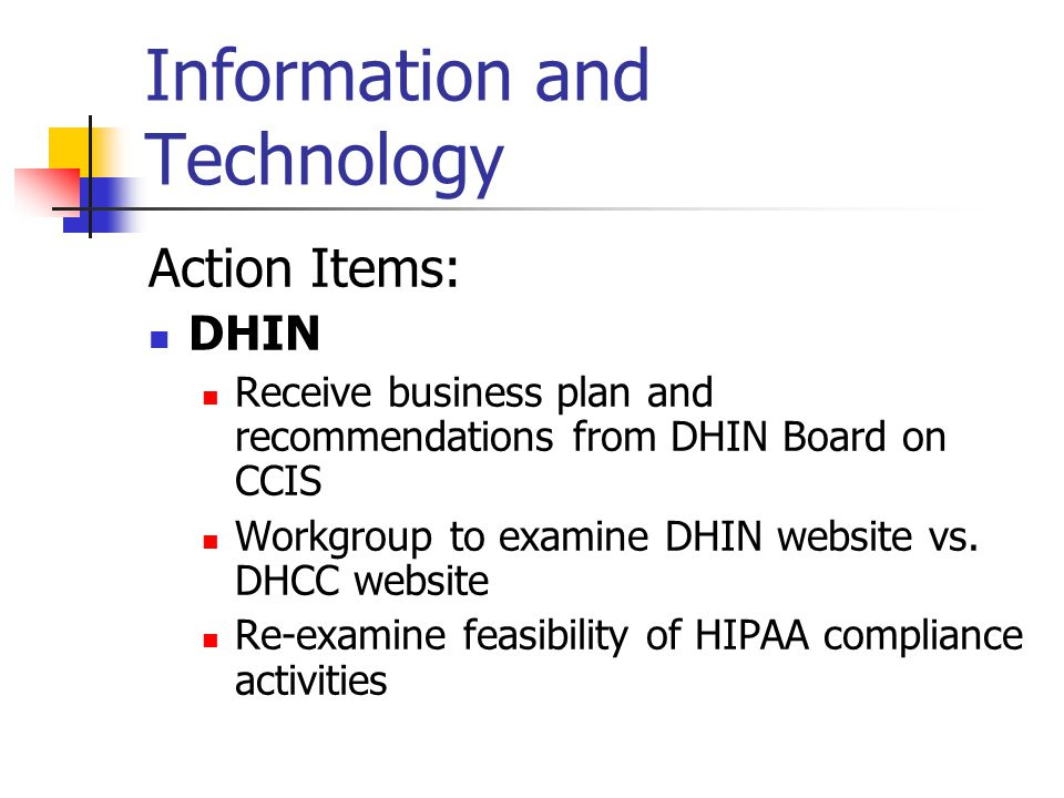 Information and Technology Action Items: DHIN Receive business plan and recommendations from DHIN Board on CCIS Workgroup to examine DHIN website vs.