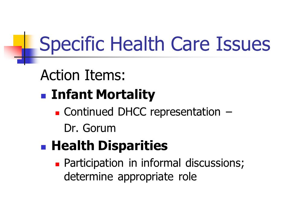 Specific Health Care Issues Action Items: Infant Mortality Continued DHCC representation – Dr.
