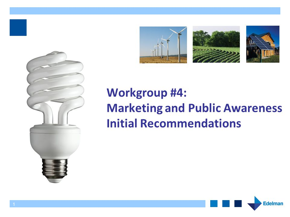 1 Workgroup #4: Marketing and Public Awareness Initial Recommendations
