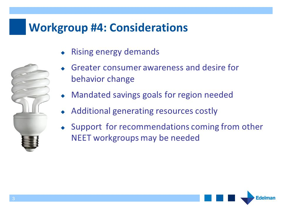 3 Workgroup #4: Considerations  Rising energy demands  Greater consumer awareness and desire for behavior change  Mandated savings goals for region needed  Additional generating resources costly  Support for recommendations coming from other NEET workgroups may be needed