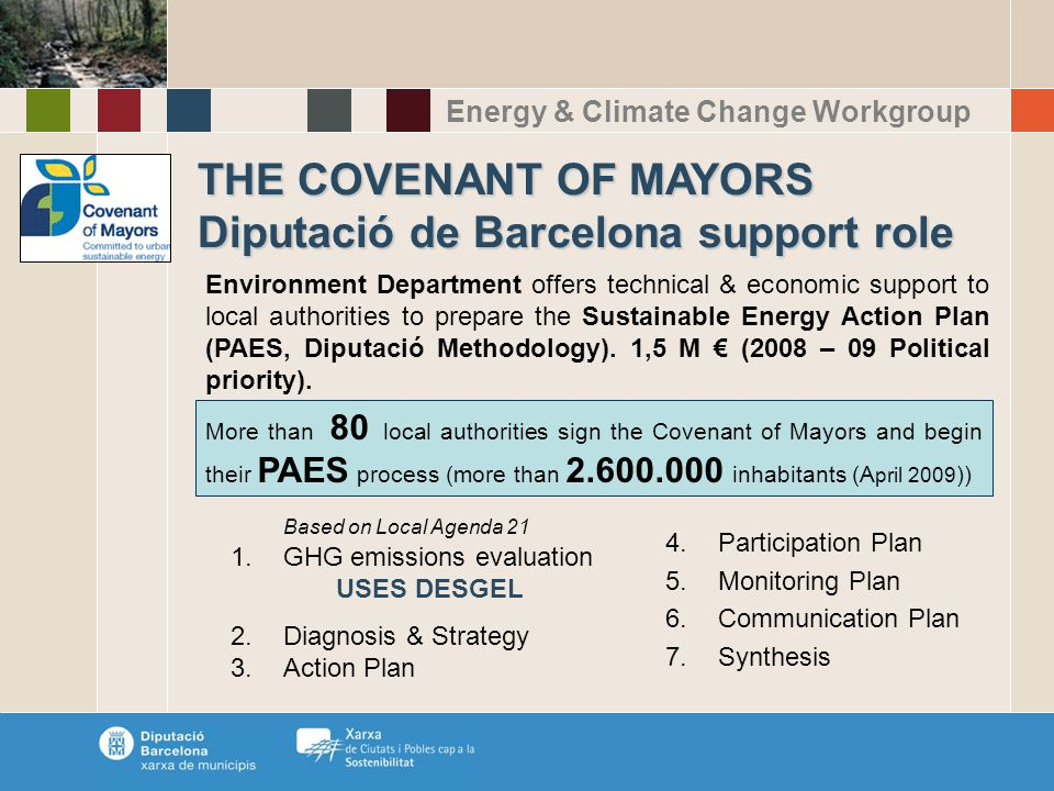 Energy & Climate Change Workgroup THE COVENANT OF MAYORS Diputació de Barcelona support role Environment Department offers technical & economic support to local authorities to prepare the Sustainable Energy Action Plan (PAES, Diputació Methodology).
