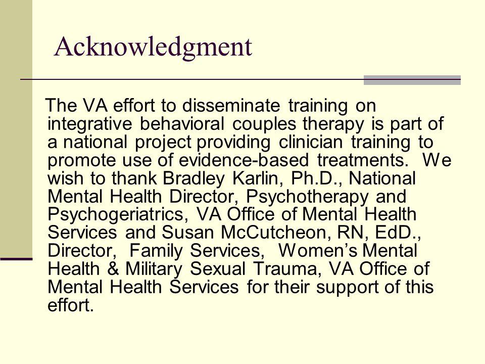 VA Training in Evidence-Based Psychotherapies