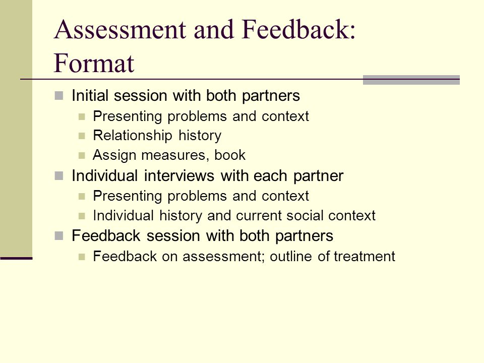 Assessment and Feedback: Format Initial session with both partners Presenting problems and context Relationship history Assign measures, book Individu