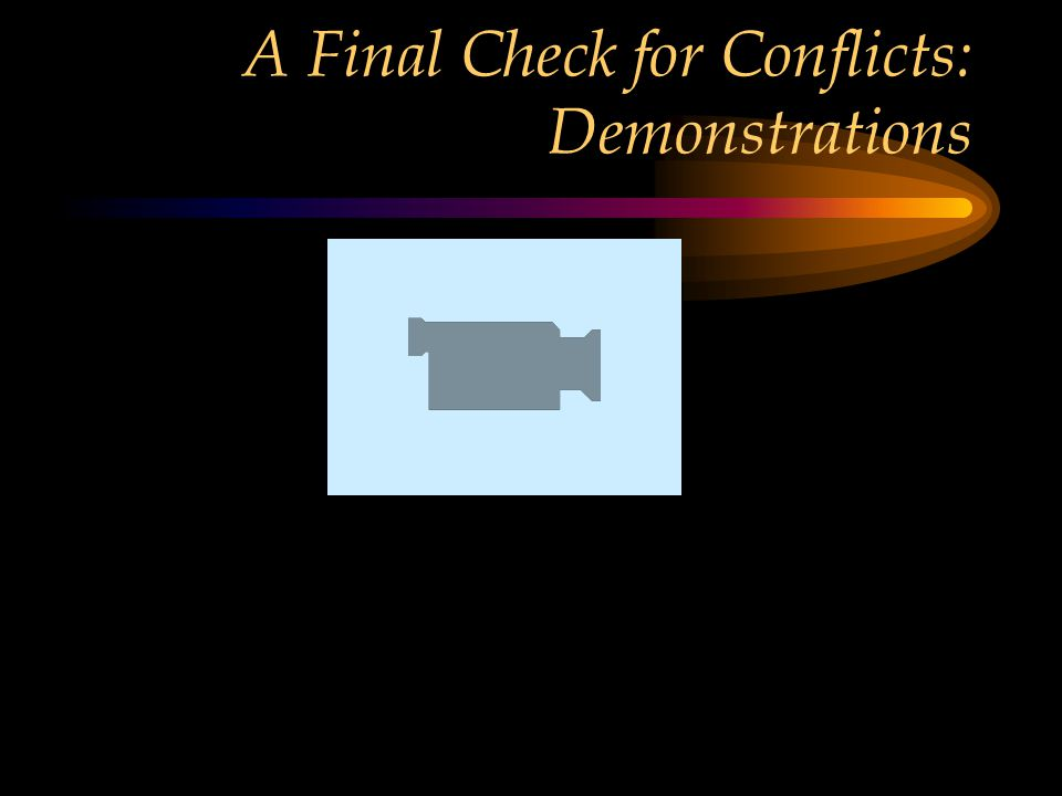 A Final Check for Conflicts: Demonstrations