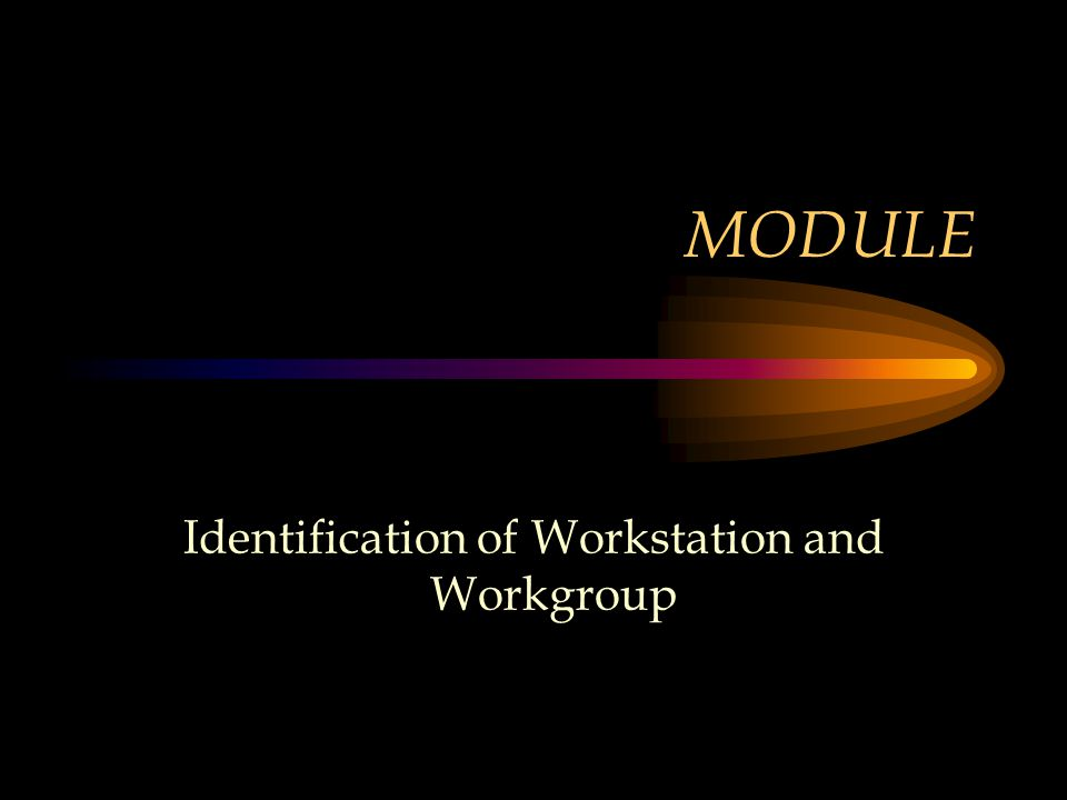 MODULE Identification of Workstation and Workgroup
