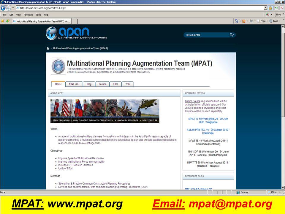 UNCLASSIFIED 14 MPAT: www.mpat.org Email: mpat@mpat.org