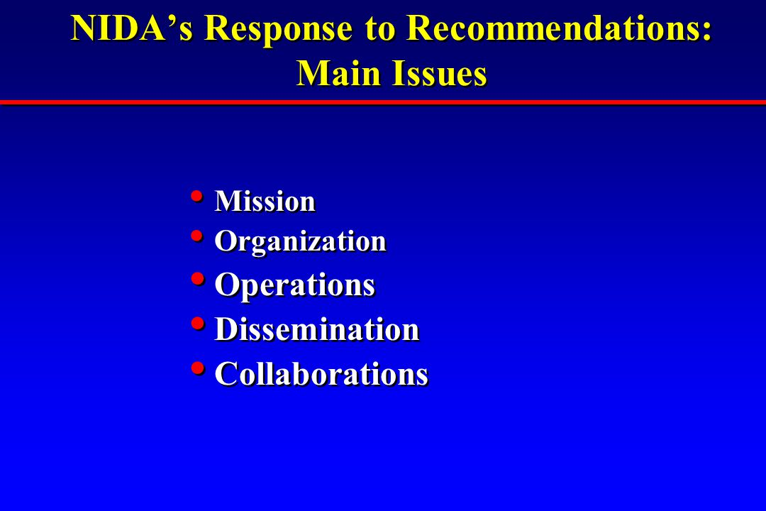 NIDA's Response to Recommendations: Main Issues Mission Organization Operations Dissemination Collaborations Mission Organization Operations Dissemina