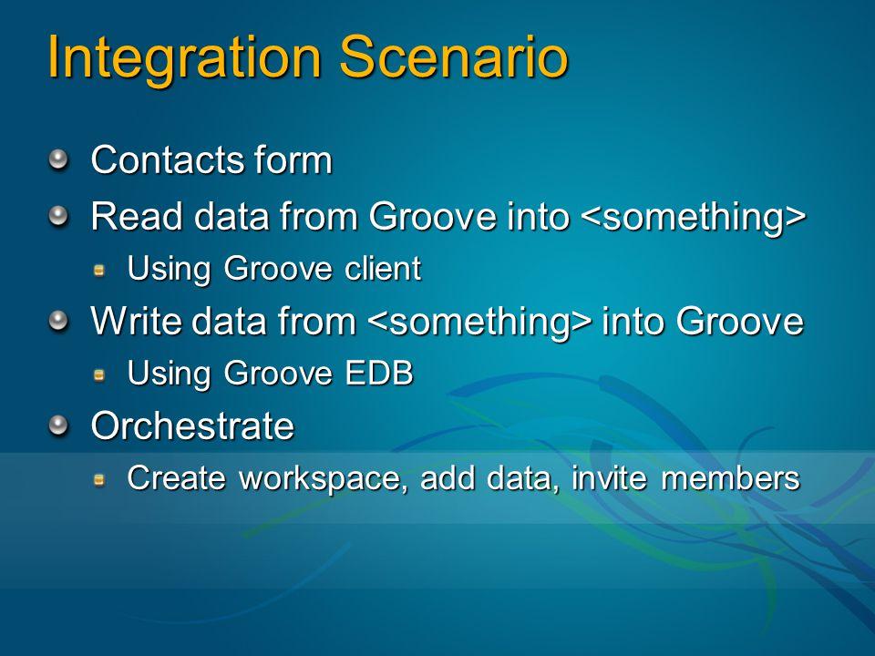 Integration Scenario Contacts form Read data from Groove into Read data from Groove into Using Groove client Write data from into Groove Using Groove EDB Orchestrate Create workspace, add data, invite members