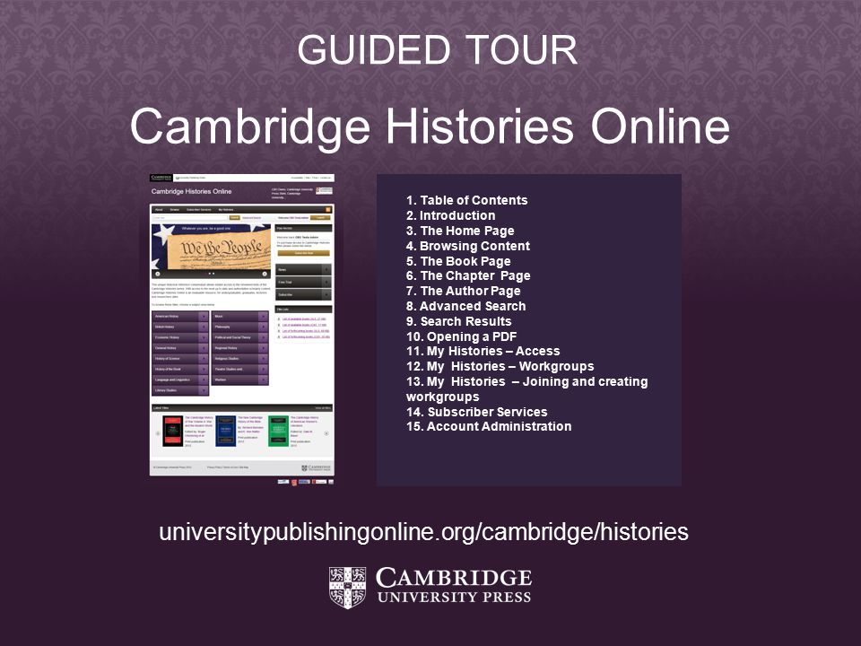 Cambridge Histories Online 1. Table of Contents 2.