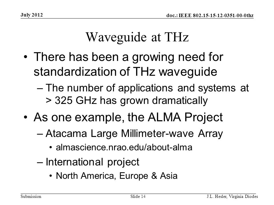 doc.: IEEE 802.15-15-12-0351-00-0thz Submission Waveguide at THz There has been a growing need for standardization of THz waveguide –The number of app