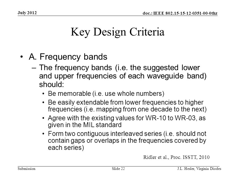 doc.: IEEE 802.15-15-12-0351-00-0thz Submission Key Design Criteria A. Frequency bands –The frequency bands (i.e. the suggested lower and upper freque