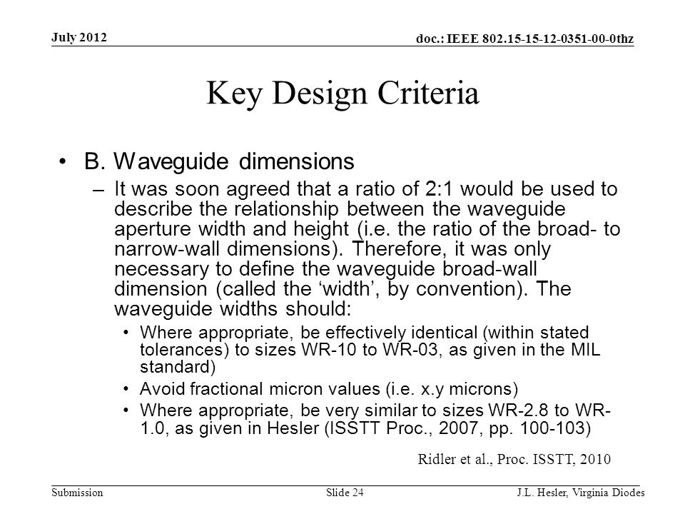 doc.: IEEE 802.15-15-12-0351-00-0thz Submission Key Design Criteria B. Waveguide dimensions –It was soon agreed that a ratio of 2:1 would be used to d
