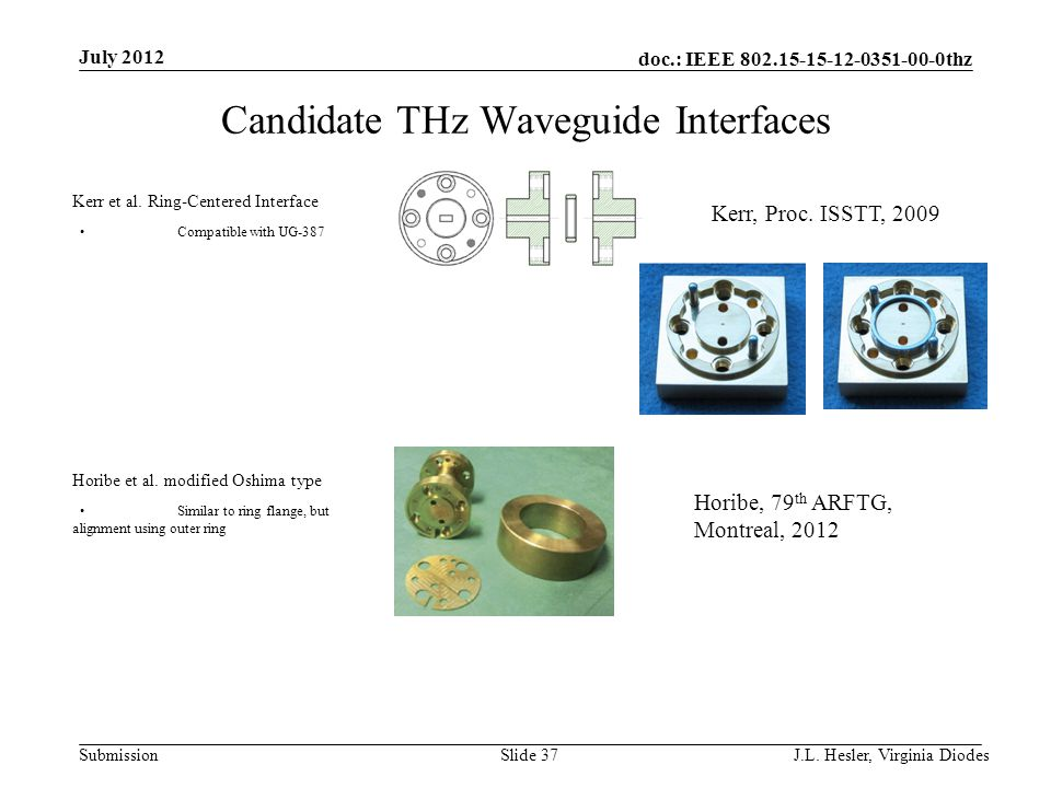 doc.: IEEE 802.15-15-12-0351-00-0thz Submission Candidate THz Waveguide Interfaces July 2012 J.L. Hesler, Virginia Diodes Slide 37 Horibe et al. modif