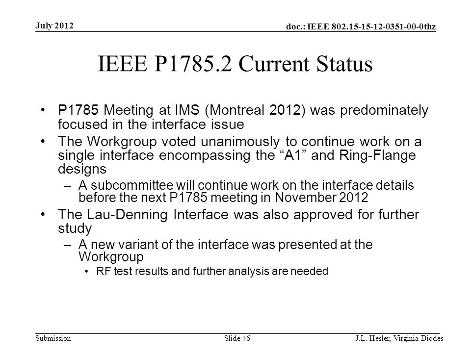 doc.: IEEE 802.15-15-12-0351-00-0thz Submission IEEE P1785.2 Current Status P1785 Meeting at IMS (Montreal 2012) was predominately focused in the inte