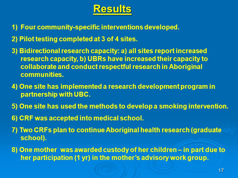 17 Results 1)Four community-specific interventions developed.