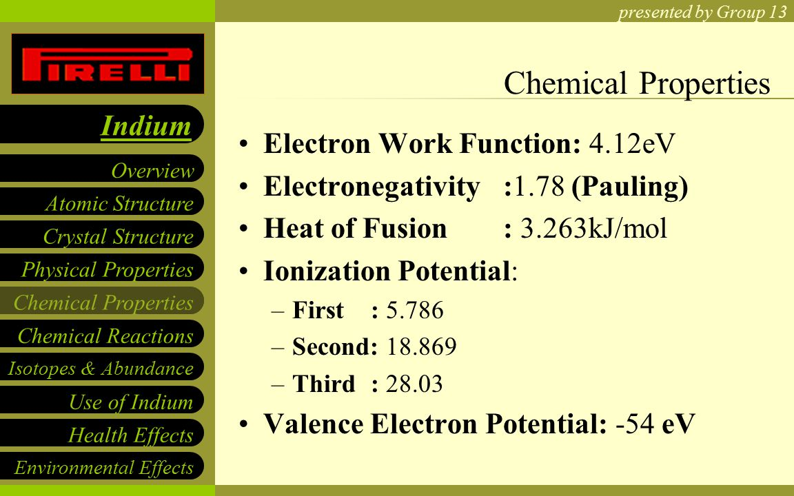 Presented by group 13 atomic structure crystal structure physical 6 presented by group 13 atomic structure crystal structure physical properties chemical properties overview indium isotopes abundance use of indium health gamestrikefo Gallery