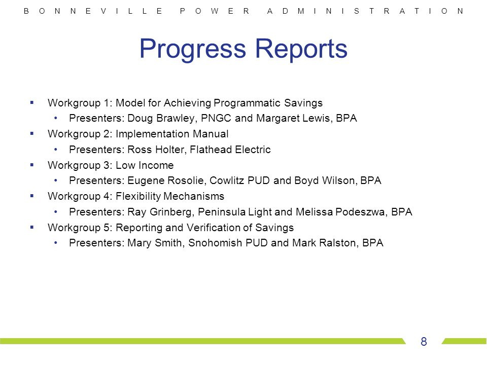 B O N N E V I L L E P O W E R A D M I N I S T R A T I O N Progress Reports  Workgroup 1: Model for Achieving Programmatic Savings Presenters: Doug Br