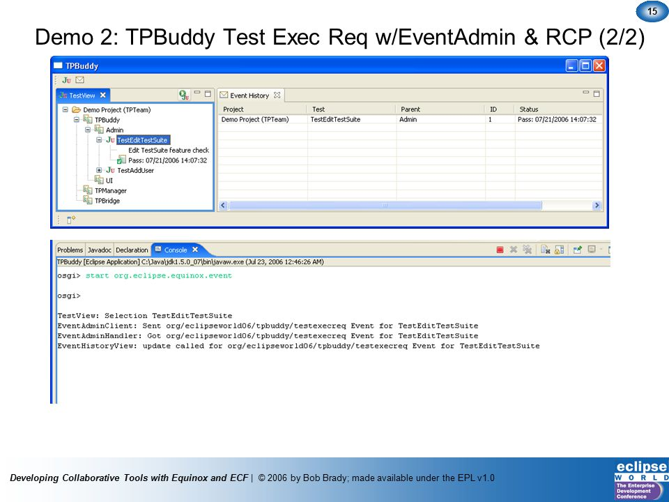 Developing Collaborative Tools with Equinox and ECF | © 2006 by Bob Brady; made available under the EPL v1.0 15 Demo 2: TPBuddy Test Exec Req w/EventAdmin & RCP (2/2)
