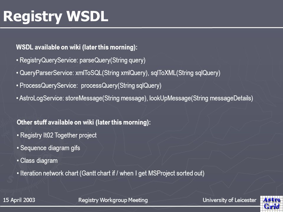 15 April 2003 Registry Workgroup Meeting University of Leicester Registry WSDL WSDL available on wiki (later this morning): RegistryQueryService: parseQuery(String query) QueryParserService: xmlToSQL(String xmlQuery), sqlToXML(String sqlQuery) ProcessQueryService: processQuery(String sqlQuery) AstroLogService: storeMessage(String message), lookUpMessage(String messageDetails) Other stuff available on wiki (later this morning): Registry It02 Together project Sequence diagram gifs Class diagram Iteration network chart (Gantt chart if / when I get MSProject sorted out)