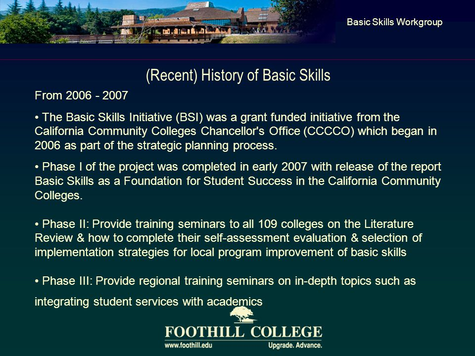 (Recent) History of Basic Skills Basic Skills Workgroup From 2006 - 2007 The Basic Skills Initiative (BSI) was a grant funded initiative from the California Community Colleges Chancellor s Office (CCCCO) which began in 2006 as part of the strategic planning process.