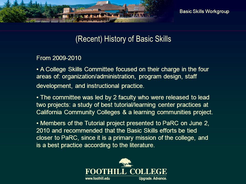 (Recent) History of Basic Skills Basic Skills Workgroup From 2009-2010 A College Skills Committee focused on their charge in the four areas of: organization/administration, program design, staff development, and instructional practice.
