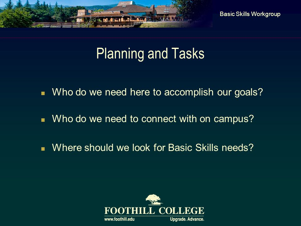 Planning and Tasks Who do we need here to accomplish our goals.