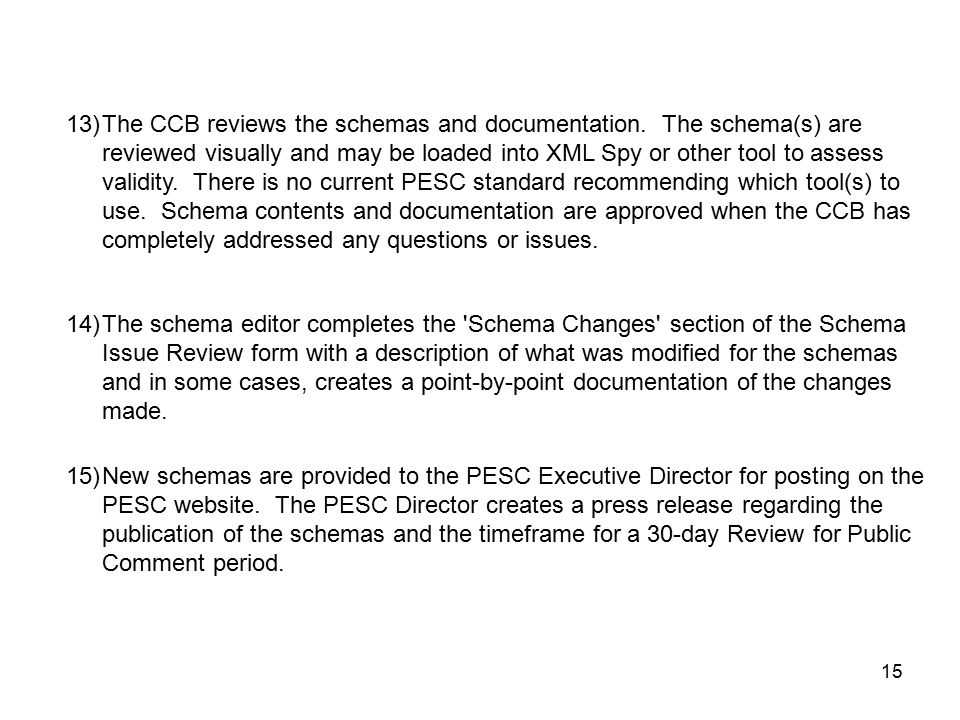 15 15)New schemas are provided to the PESC Executive Director for posting on the PESC website.