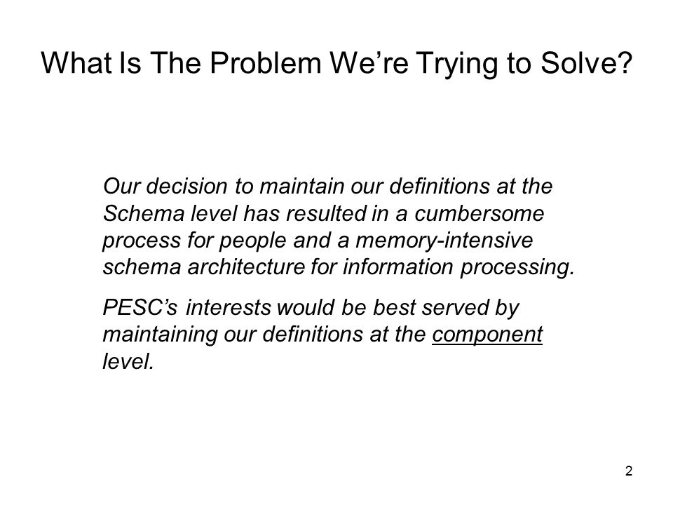 3 We developed a Core schema that contains element definitions that have no differences across PESC members.