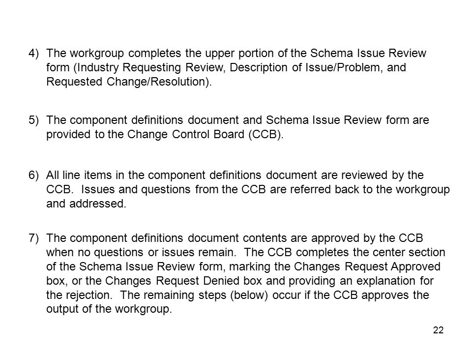 22 4)The workgroup completes the upper portion of the Schema Issue Review form (Industry Requesting Review, Description of Issue/Problem, and Requested Change/Resolution).