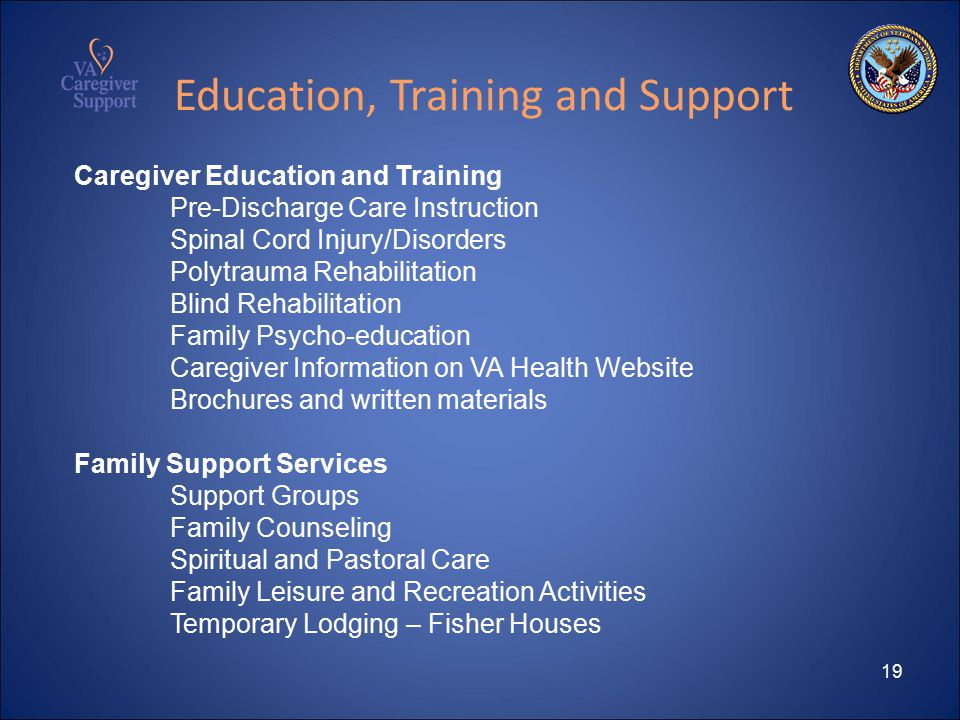 19 Education, Training and Support Caregiver Education and Training Pre-Discharge Care Instruction Spinal Cord Injury/Disorders Polytrauma Rehabilitation Blind Rehabilitation Family Psycho-education Caregiver Information on VA Health Website Brochures and written materials Family Support Services Support Groups Family Counseling Spiritual and Pastoral Care Family Leisure and Recreation Activities Temporary Lodging – Fisher Houses