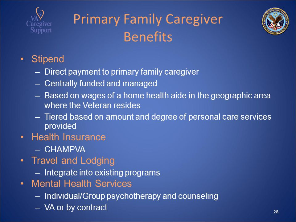 Primary Family Caregiver Benefits Stipend –Direct payment to primary family caregiver –Centrally funded and managed –Based on wages of a home health aide in the geographic area where the Veteran resides –Tiered based on amount and degree of personal care services provided Health Insurance –CHAMPVA Travel and Lodging –Integrate into existing programs Mental Health Services –Individual/Group psychotherapy and counseling –VA or by contract 28