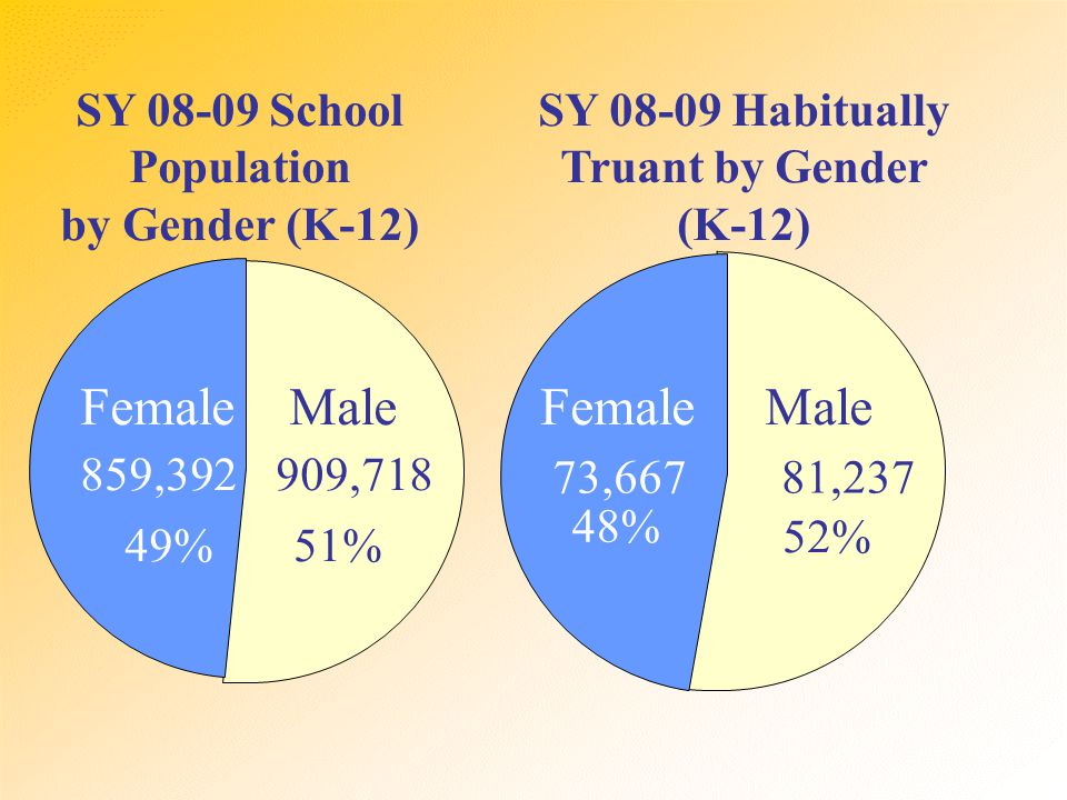 SY 08-09 School Population by Gender (K-12) Male 909,718 51% Female 859,392 49% Male 81,237 52% Female 73,667 48% SY 08-09 Habitually Truant by Gender