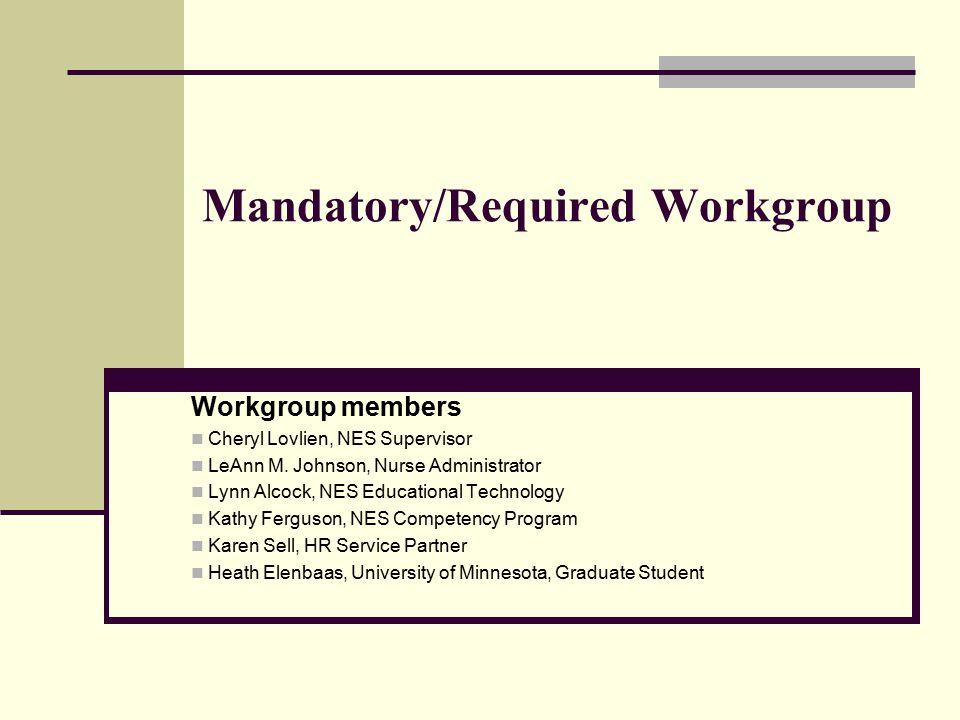 Mandatory/Required Workgroup Workgroup members Cheryl Lovlien, NES Supervisor LeAnn M. Johnson, Nurse Administrator Lynn Alcock, NES Educational Techn