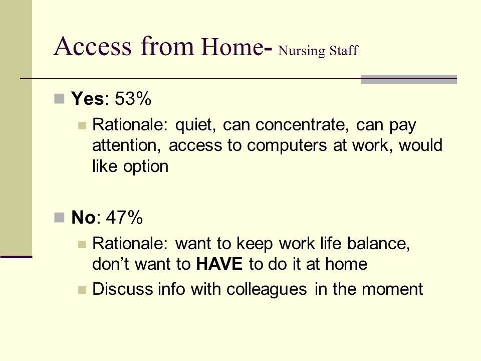 Access from Home- Nursing Staff Yes: 53% Rationale: quiet, can concentrate, can pay attention, access to computers at work, would like option No: 47% Rationale: want to keep work life balance, don't want to HAVE to do it at home Discuss info with colleagues in the moment