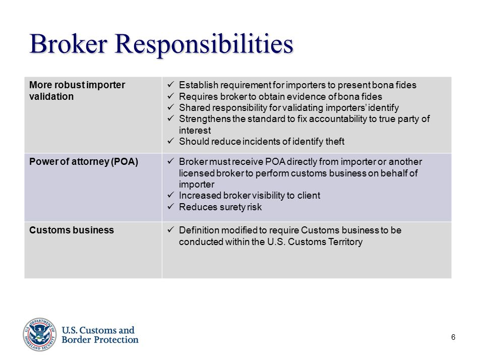 6 Broker Responsibilities More robust importer validation Establish requirement for importers to present bona fides Requires broker to obtain evidence of bona fides Shared responsibility for validating importers' identify Strengthens the standard to fix accountability to true party of interest Should reduce incidents of identify theft Power of attorney (POA) Broker must receive POA directly from importer or another licensed broker to perform customs business on behalf of importer Increased broker visibility to client Reduces surety risk Customs business Definition modified to require Customs business to be conducted within the U.S.