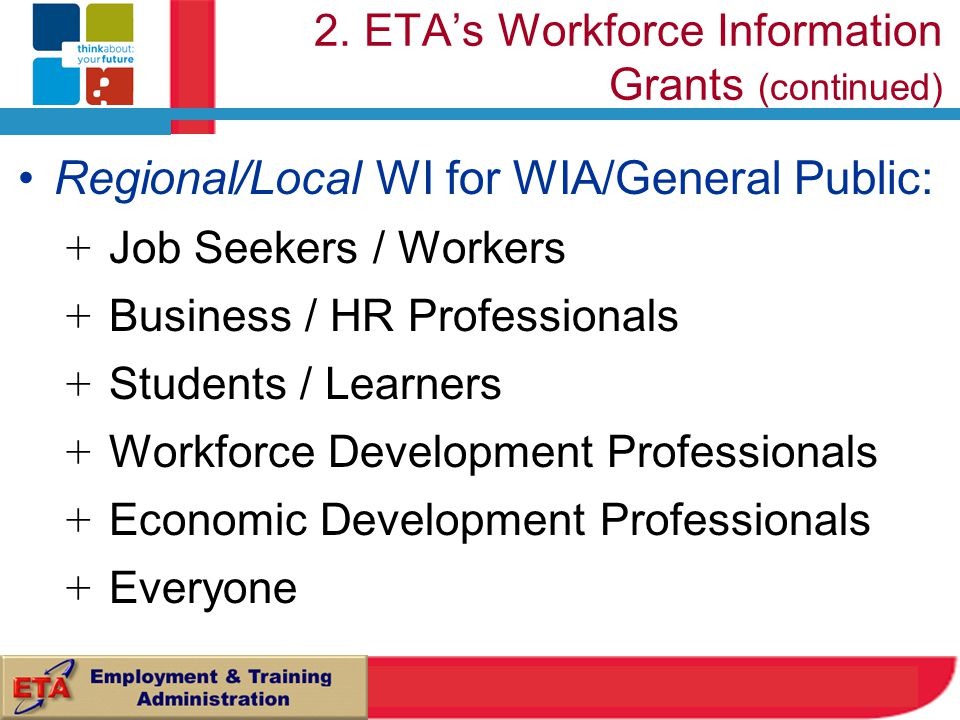 2. ETA's Workforce Information Grants (continued) Regional/Local WI for WIA/General Public: + Job Seekers / Workers + Business / HR Professionals + St