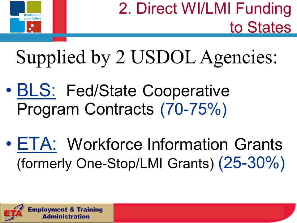 BLS: Fed/State Cooperative Program Contracts (70-75%) ETA: Workforce Information Grants (formerly One-Stop/LMI Grants) (25-30%) Supplied by 2 USDOL Agencies: 2.