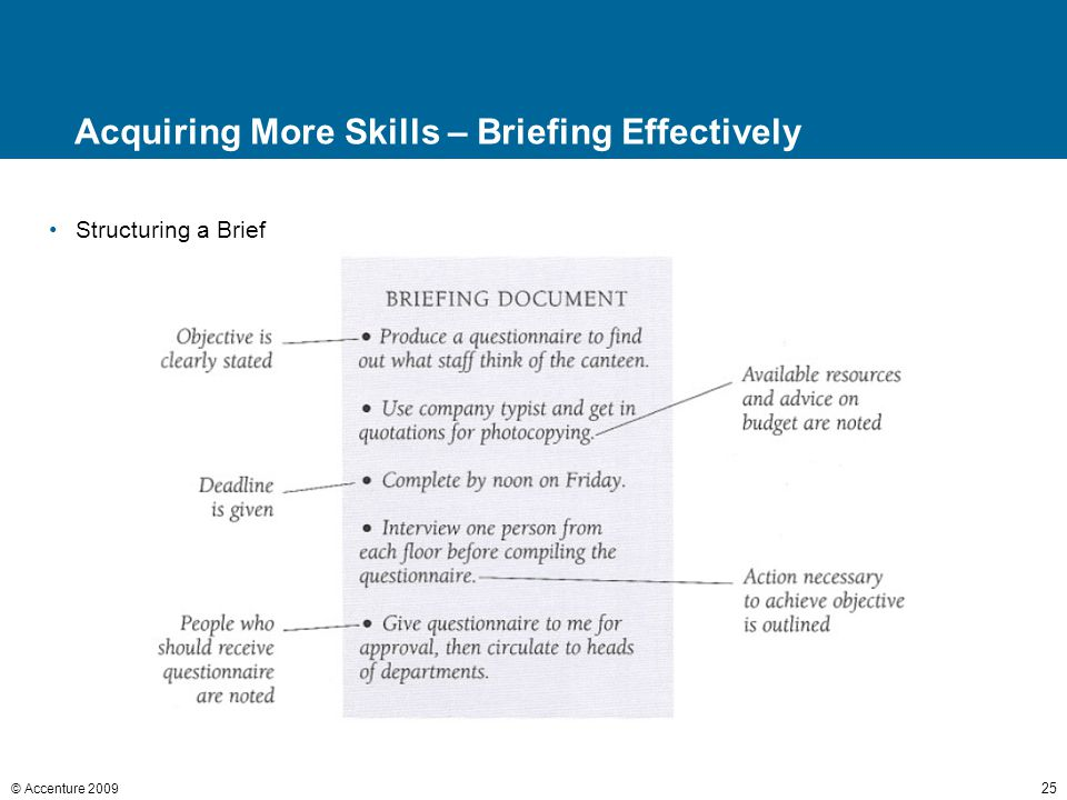 © Accenture 2009 25 Acquiring More Skills – Briefing Effectively Structuring a Brief