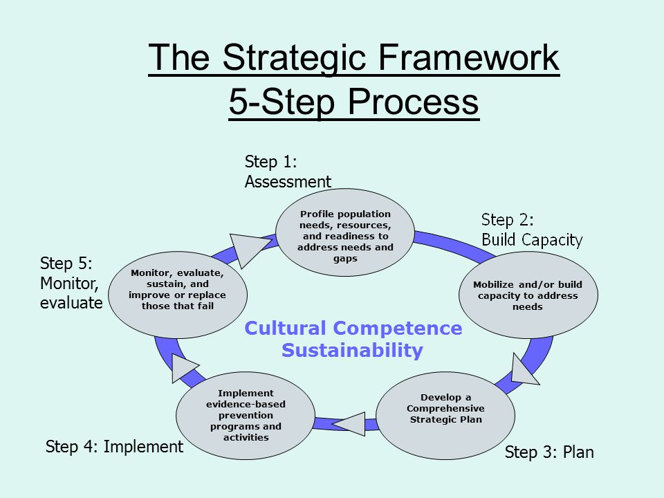 The Strategic Framework 5-Step Process Step 1: Assessment Step 3: Plan Step 4: Implement Step 5: Monitor, evaluate Cultural Competence Sustainability Profile population needs, resources, and readiness to address needs and gaps Monitor, evaluate, sustain, and improve or replace those that fail Implement evidence-based prevention programs and activities Develop a Comprehensive Strategic Plan Mobilize and/or build capacity to address needs