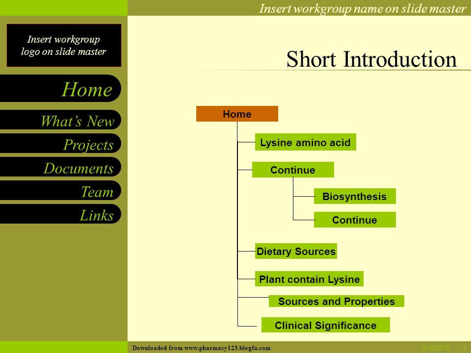 Insert workgroup logo on slide master Insert workgroup name on slide master Projects Documents Team Links What's New Home 5/10/20151 Short Introductio