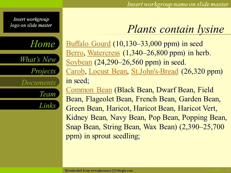 Insert workgroup logo on slide master Insert workgroup name on slide master Projects Documents Team Links What's New Home 5/10/20158 Plants contain lysine Buffalo GourdBuffalo Gourd (10,130–33,000 ppm) in seed Buffalo Gourd BerroBerro, Watercress (1,340–26,800 ppm) in herb.