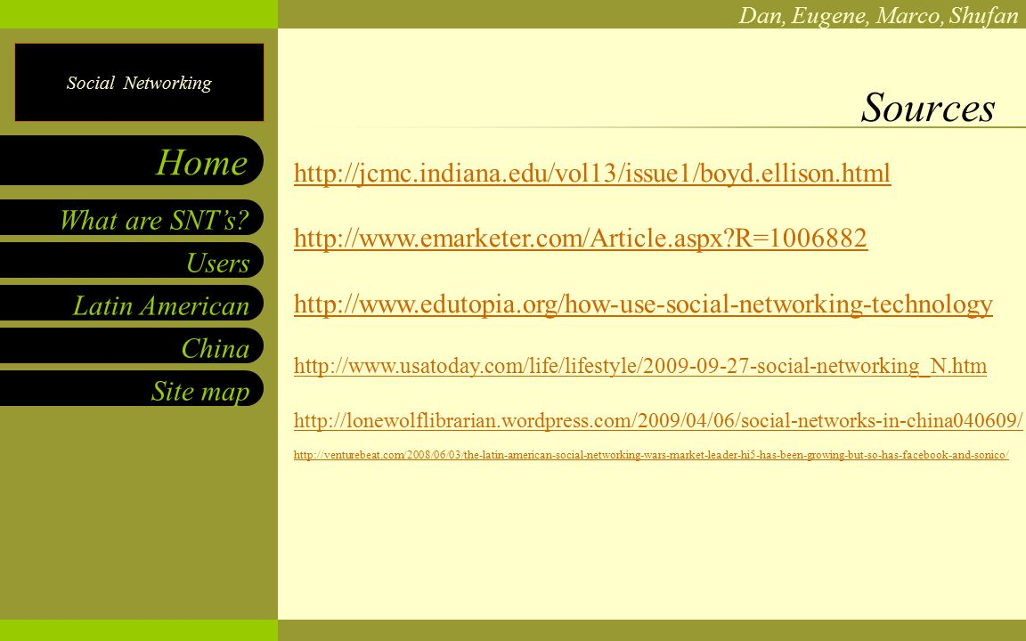 Social Networking Dan, Eugene, Marco, Shufan Users Latin American China Site map What are SNT's.