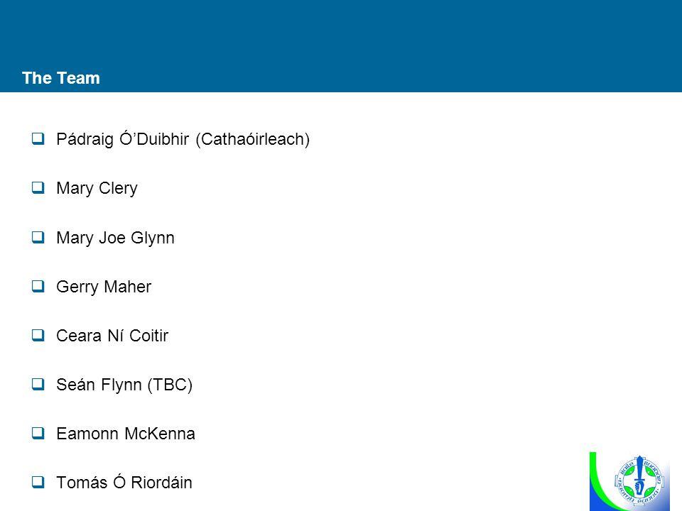 The Team  Pádraig Ó'Duibhir (Cathaóirleach)  Mary Clery  Mary Joe Glynn  Gerry Maher  Ceara Ní Coitir  Seán Flynn (TBC)  Eamonn McKenna  Tomás
