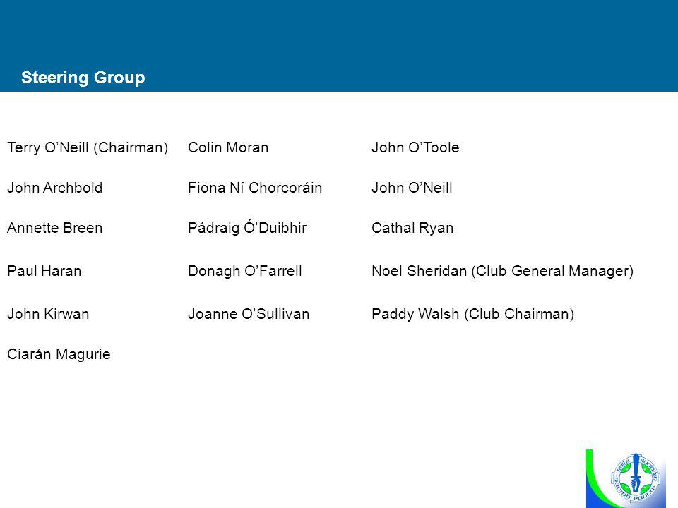 Steering Group Terry O'Neill (Chairman)Colin MoranJohn O'Toole John ArchboldFiona Ní ChorcoráinJohn O'Neill Annette BreenPádraig Ó'DuibhirCathal Ryan