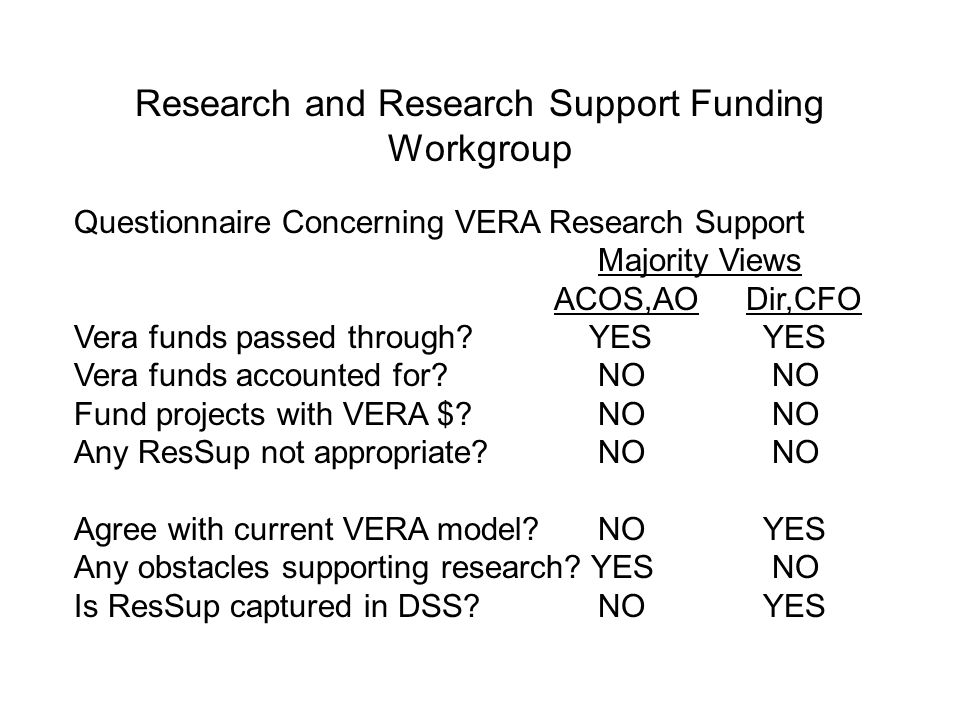 Research and Research Support Funding Workgroup Questionnaire Concerning VERA Research Support Majority Views ACOS,AODir,CFO Vera funds passed through
