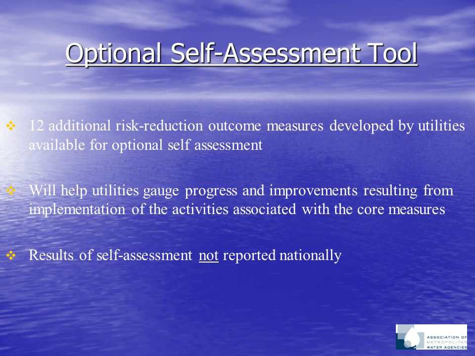 Optional Self-Assessment Tool   12 additional risk-reduction outcome measures developed by utilities available for optional self assessment   Will help utilities gauge progress and improvements resulting from implementation of the activities associated with the core measures   Results of self-assessment not reported nationally