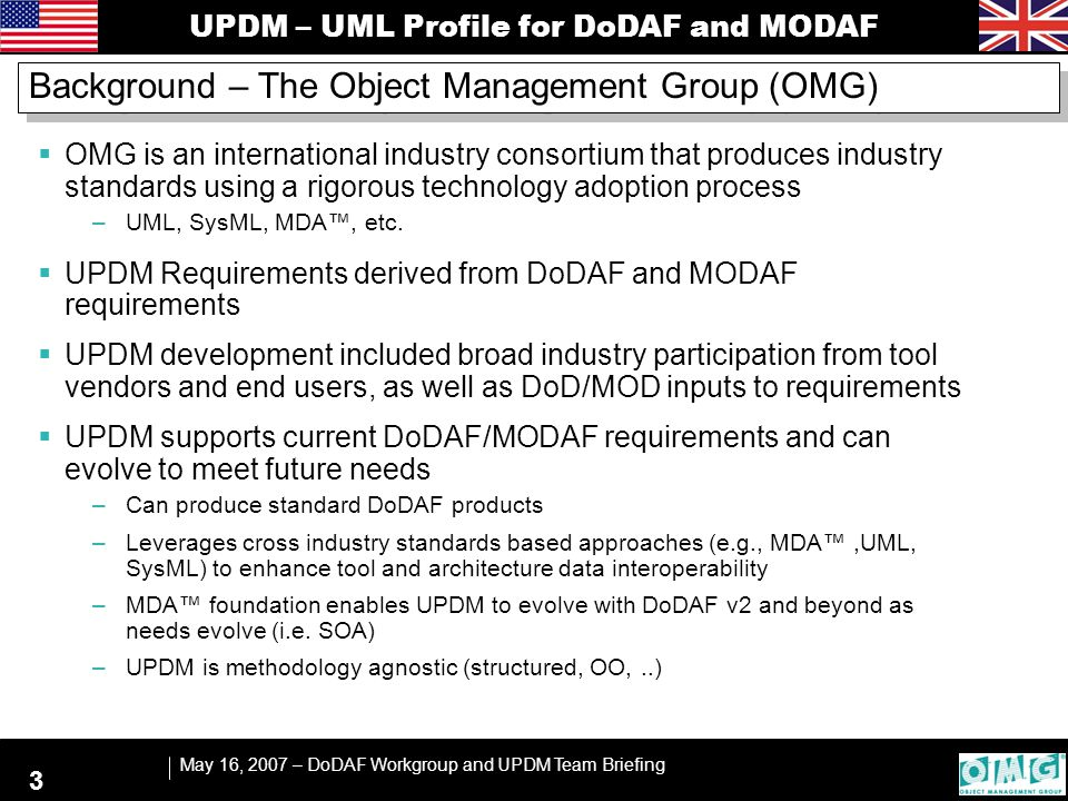 UPDM – UML Profile for DoDAF and MODAF May 16, 2007 – DoDAF Workgroup and UPDM Team Briefing 3 Background – The Object Management Group (OMG)  OMG is